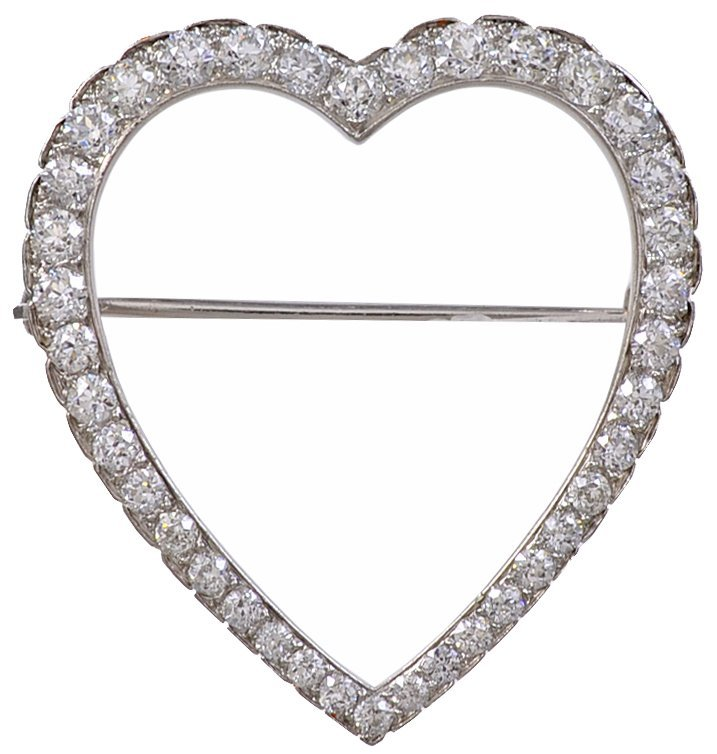 Tiffany & Co. Diamond Platinum Heart Brooch
