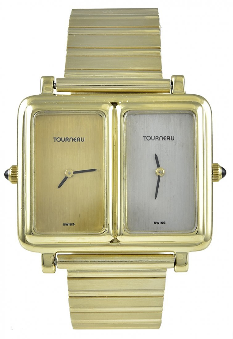 Tourneau Yellow Gold Dual Time Zone Wristwatch
