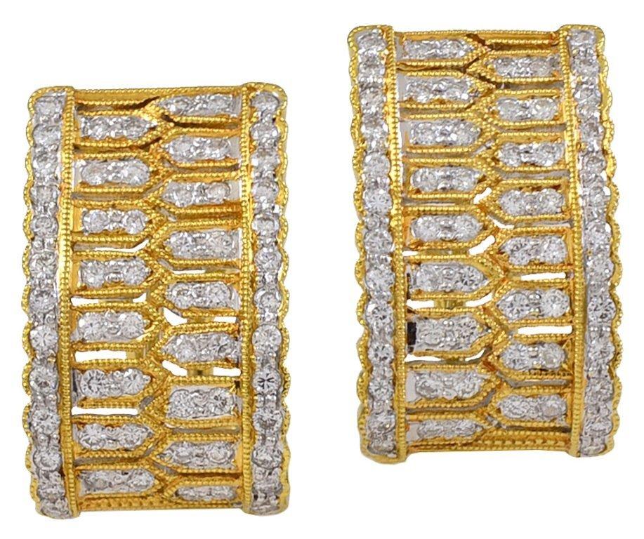 Diamond and Gold Hoop Earrings