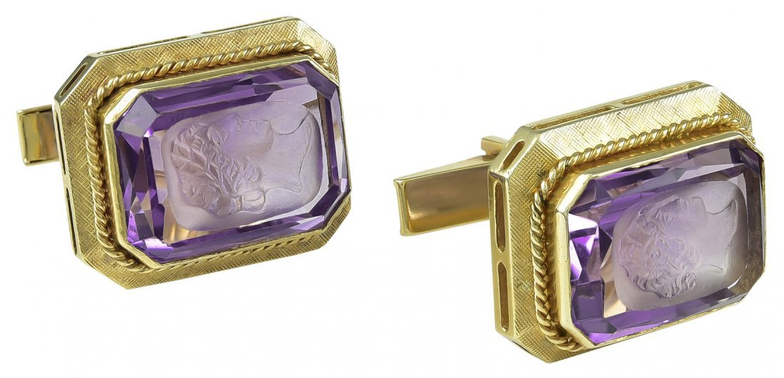 Large Amethyst Gold Cufflinks with Carved Roman Heads