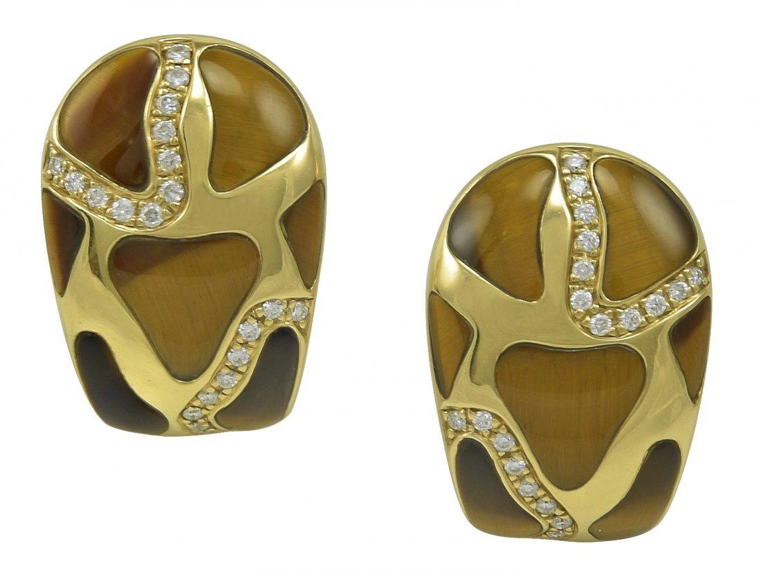 Giraffe Gold Tiger Eye Roberto Coin Earrings
