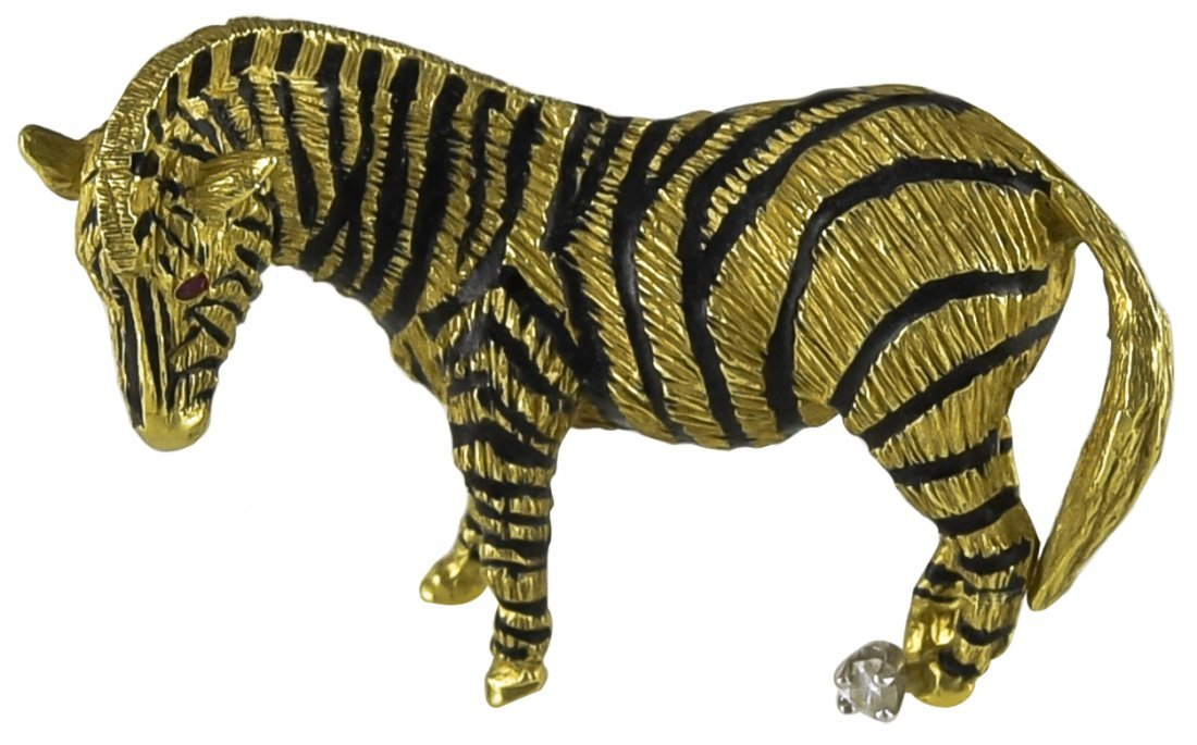 Enamel and Gold Zebra Brooch