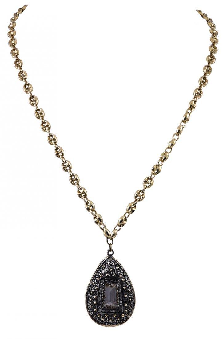 Black Diamond and Gold Teardrop Pendant Necklace