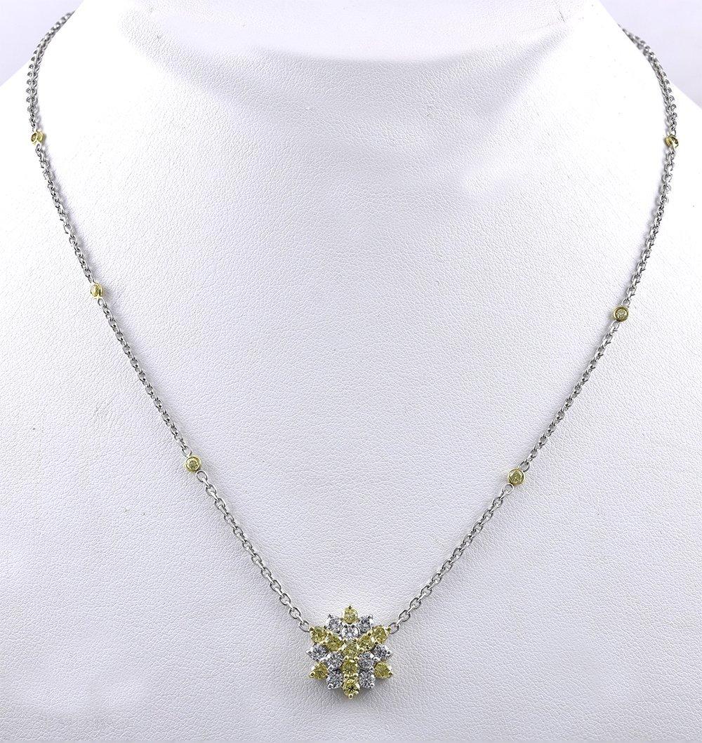 Fancy Color Diamond Starburst Pendant Necklace