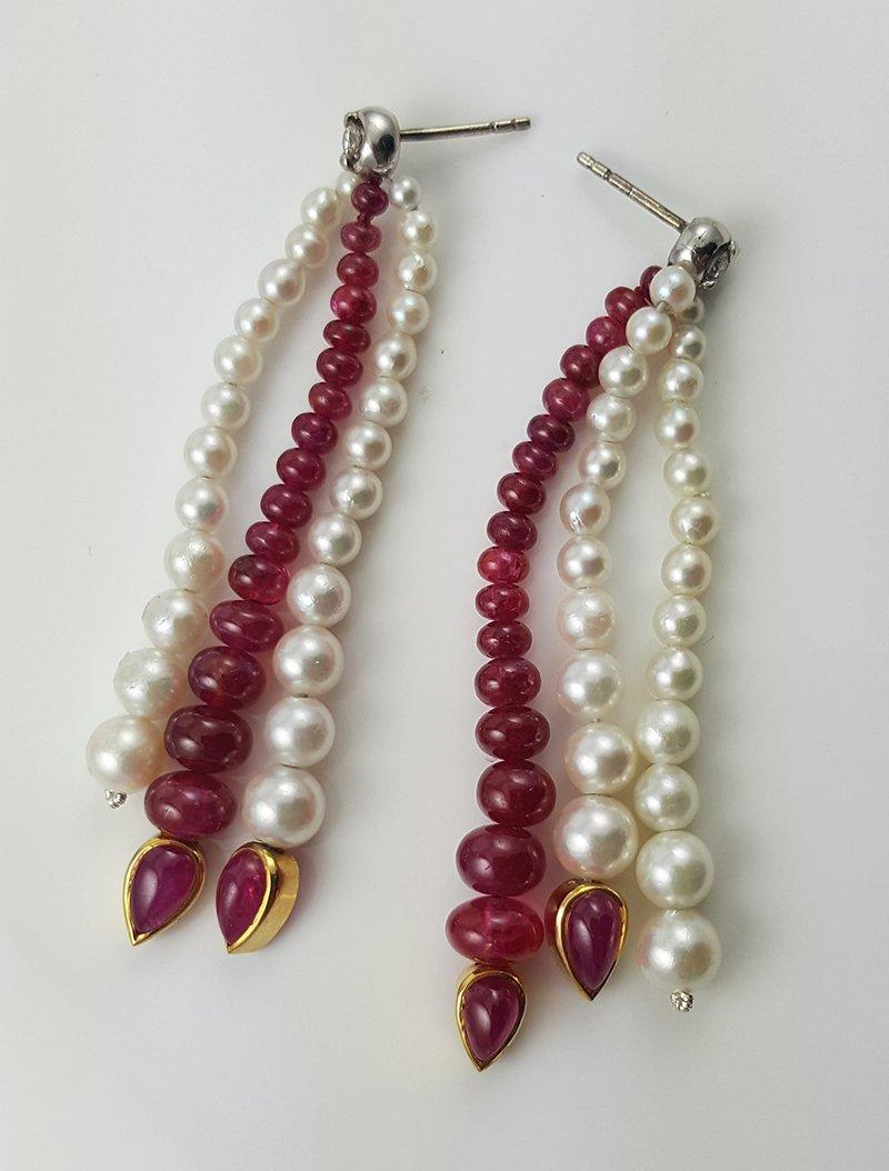 Burmese Ruby and Pearl Multistrand Drop Earrings