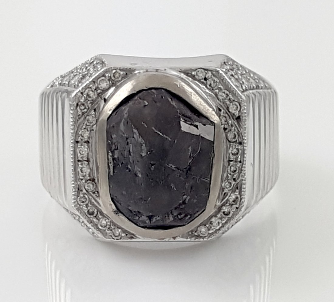 Black Diamond and Gold Men's Ring