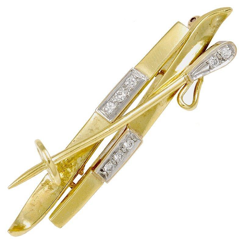 Diamond and Gold Ski Brooch