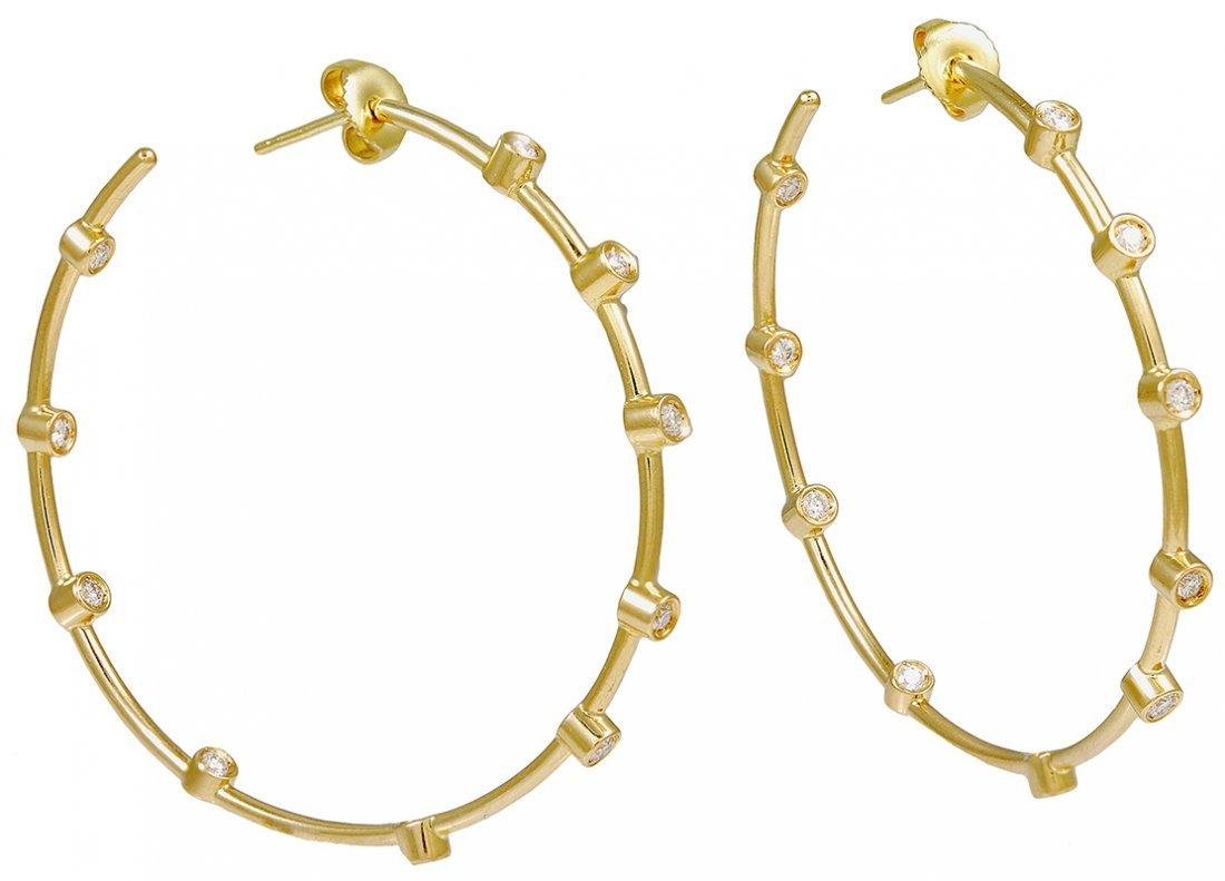 Lalaounis Large Diamond Hoop Earrings