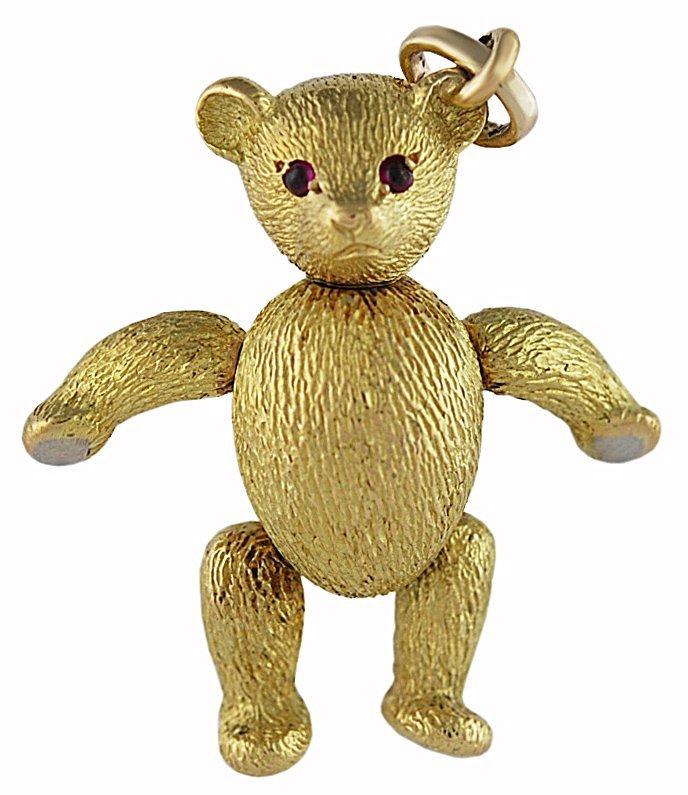 Tiffany & Co. Ruby Gold Teddy Bear Charm / Pendant