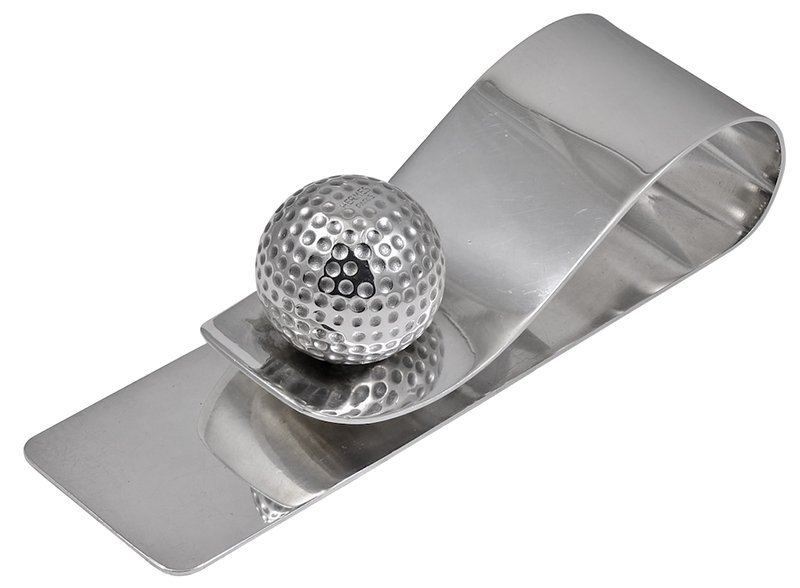 Hermes Paris Silver Golf Ball Desk Clip
