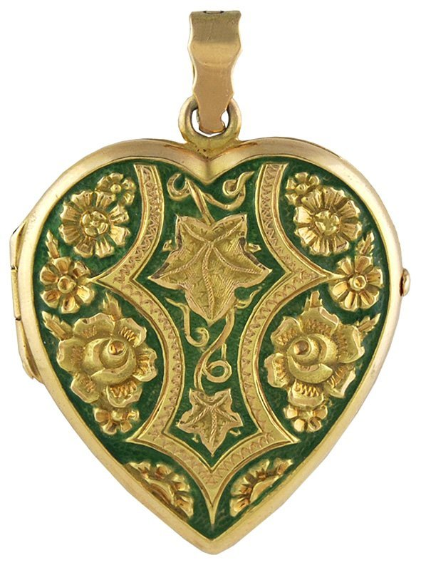Victorian Enamel Heart Locket