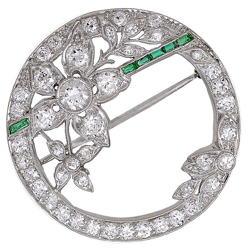 Edwardian Emerald and Diamond Flower Brooch