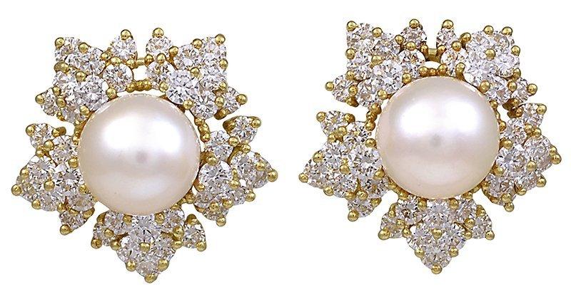 Pearl and Diamond Snowflake Ear Clips