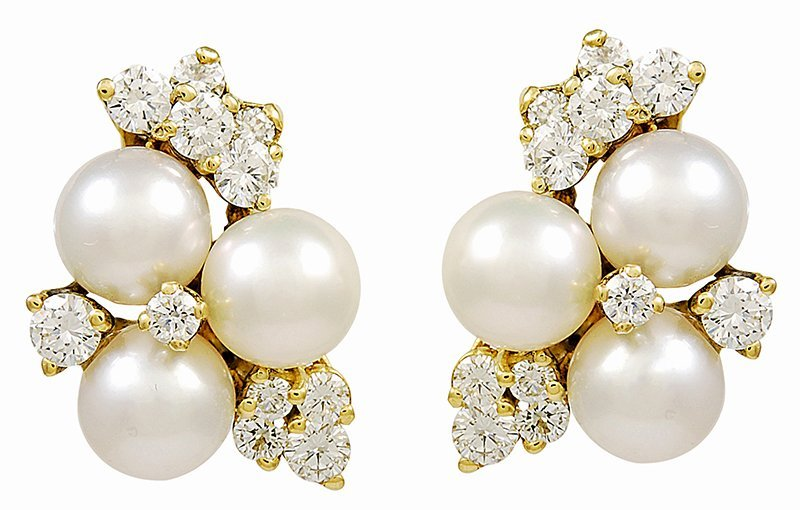 Pearl and Diamond Ear Clips