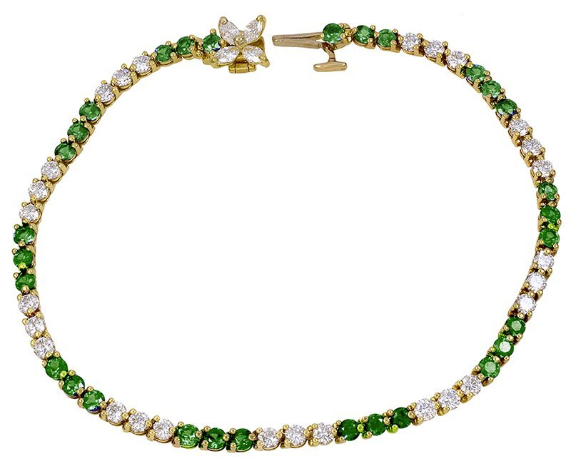 TIFFANY & CO. Diamond and Emerald Victoria Bracelet