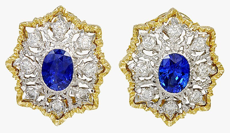 Mario Buccellati Sapphire and Diamond Ear Clips