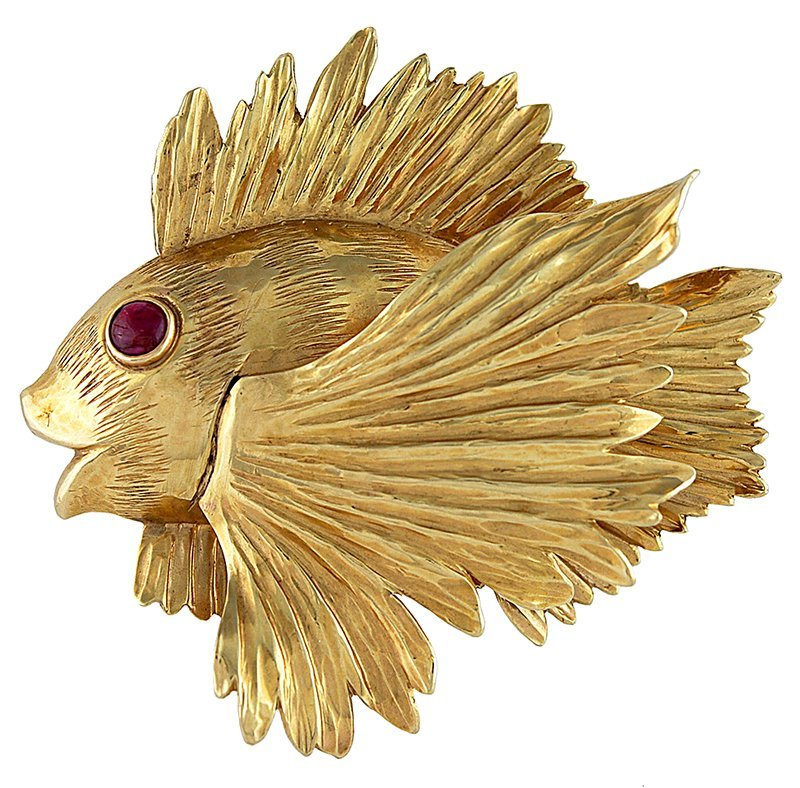 Large Gold Angel Fish Brooch