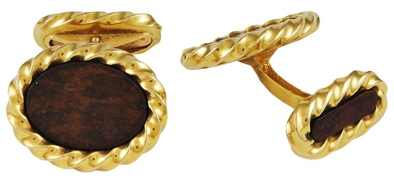 Fred Paris Double-sided Gold and Wood Cufflinks