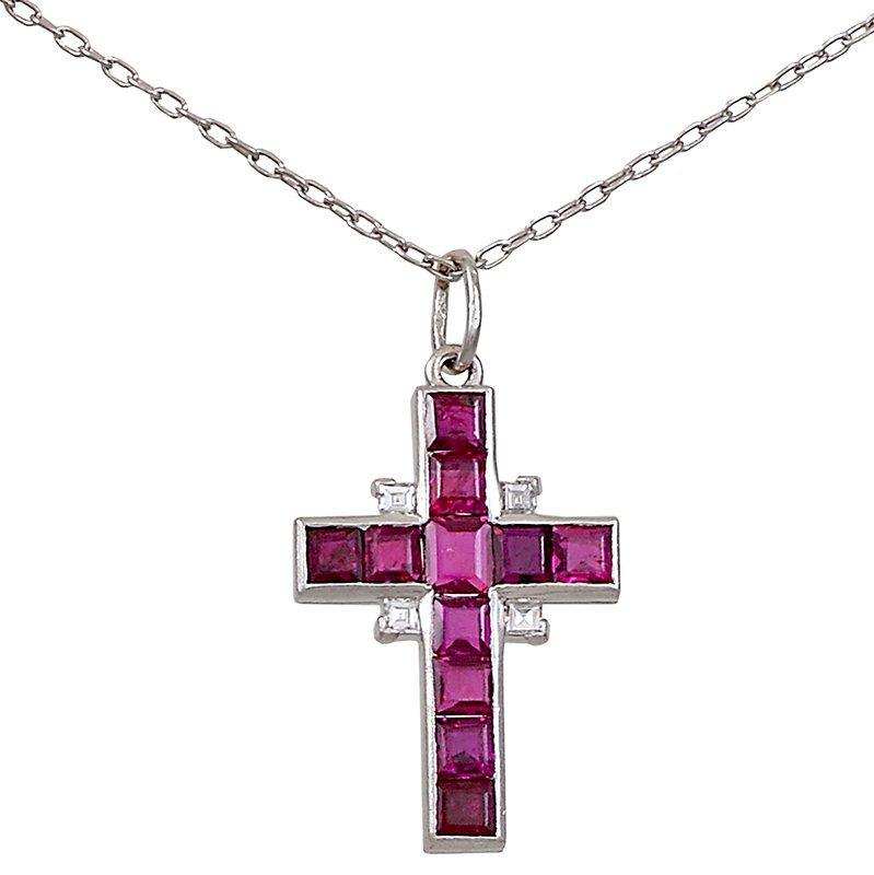 Ruby Diamond Cross Necklace