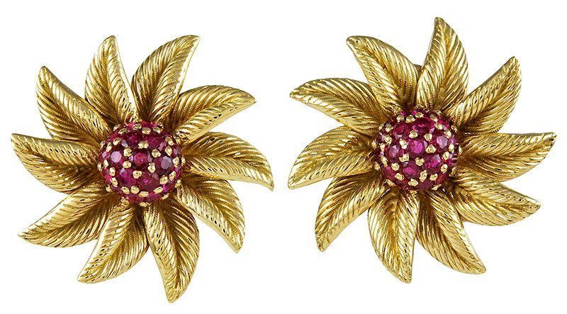 Tiffany& Co. Ruby Flower Earrings