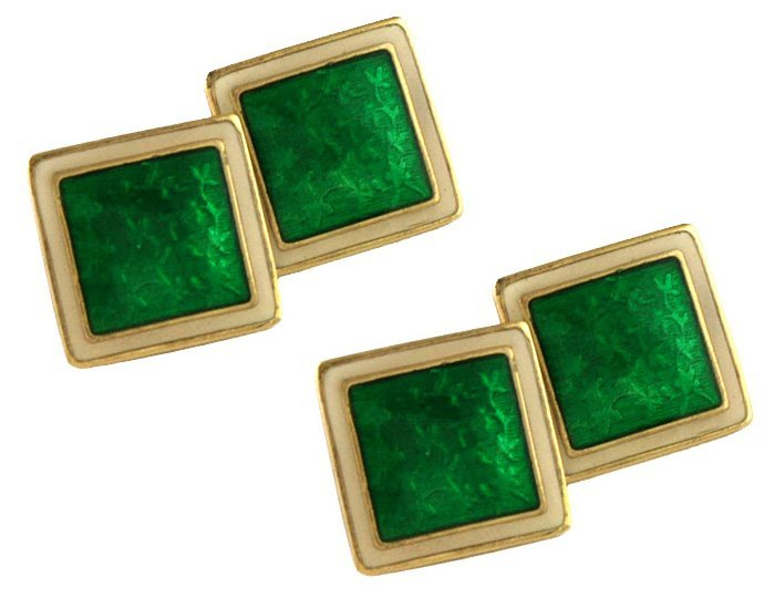 Gold Green and Cream Enamel Double-sided Cufflinks