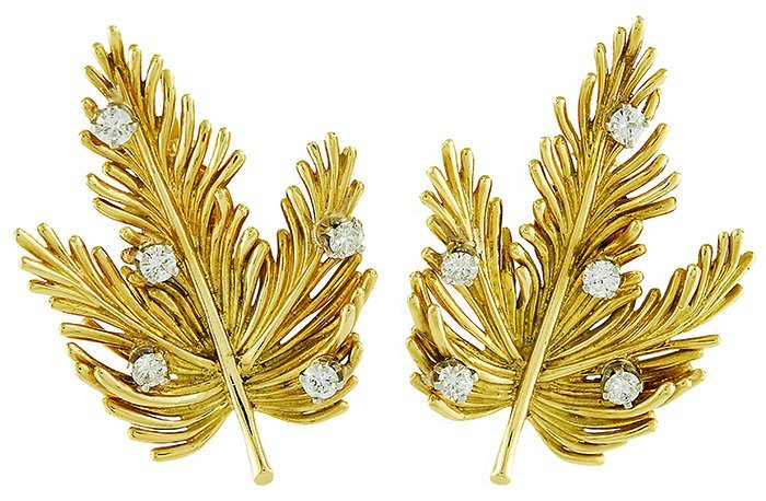 Tiffany& Co. Leaf Earclips with Diamonds