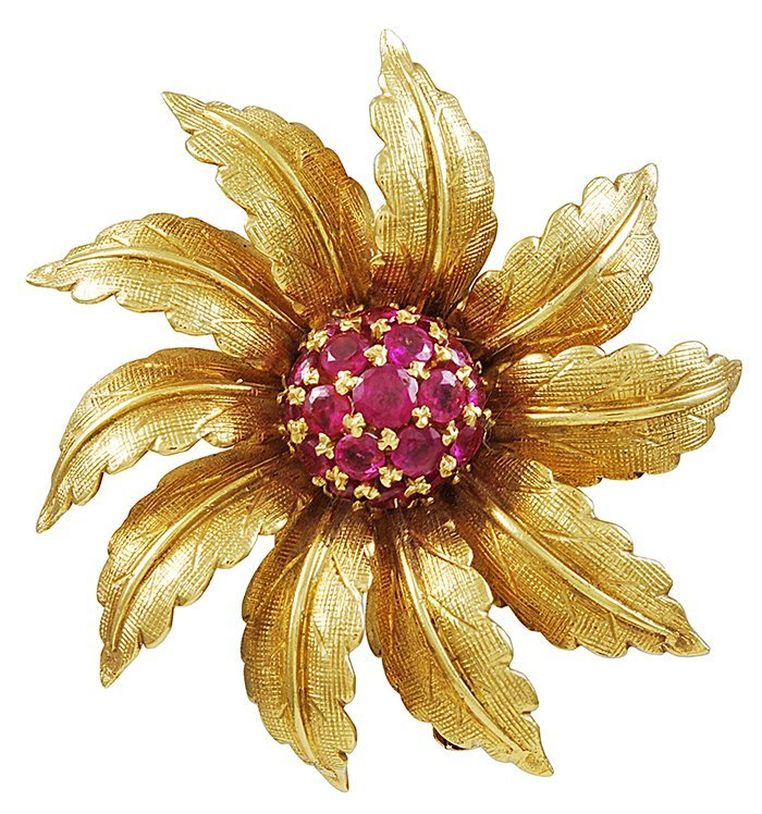 Tiffany& Co. Ruby Flower Brooch