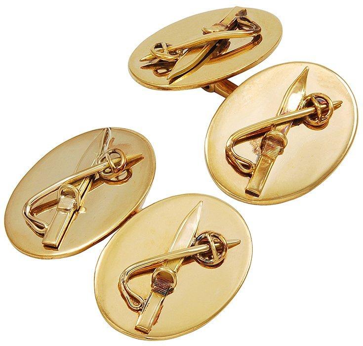 Edwardian Gold Ski Motif Cufflinks