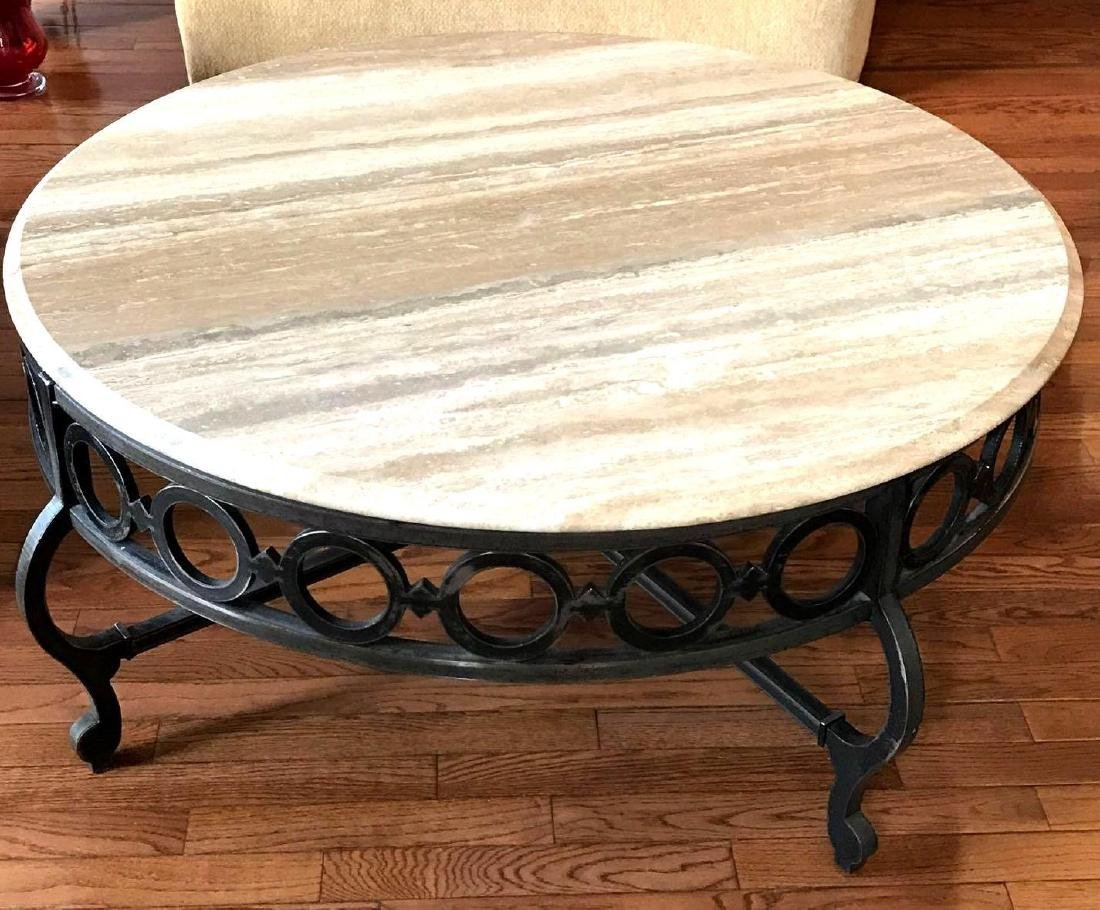 Century furniture marble top & iron round coffee table
