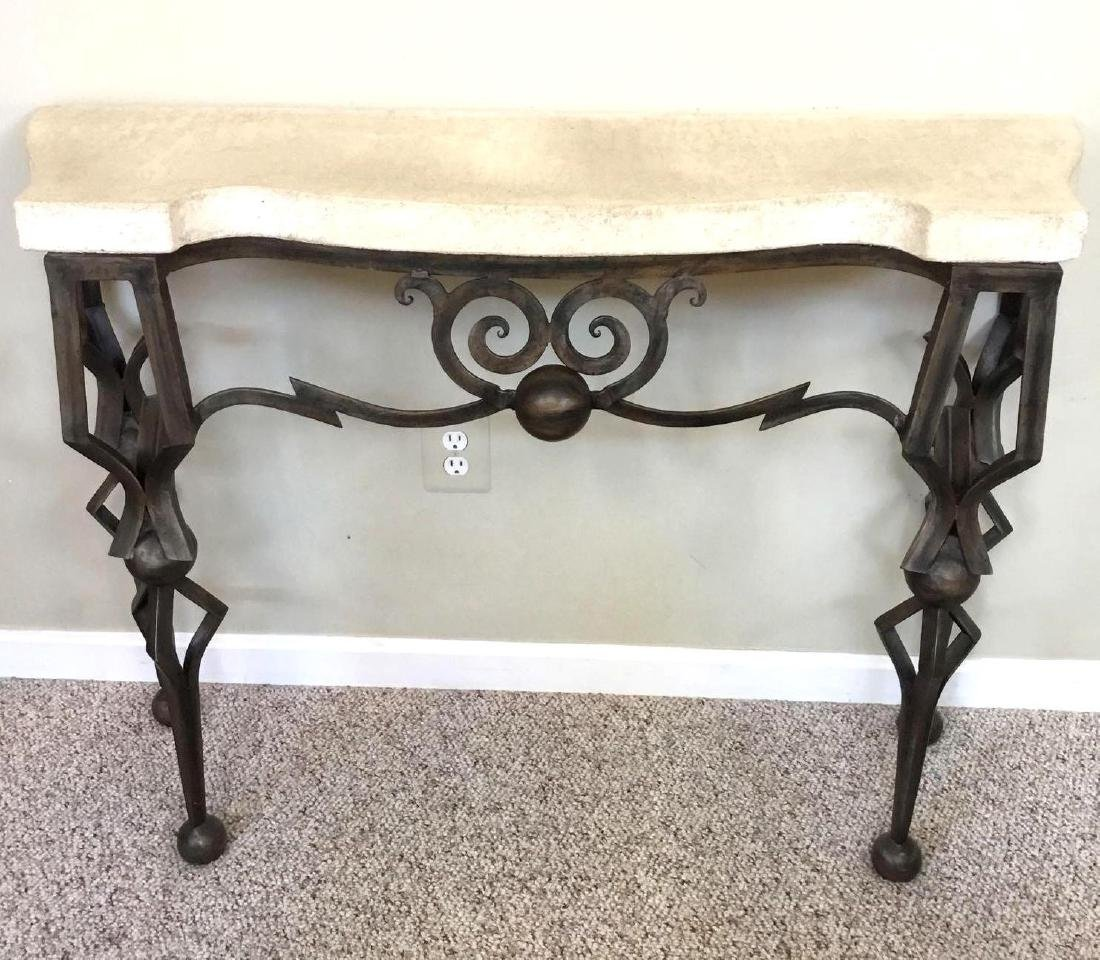 Century Furniture metal console table with stone top