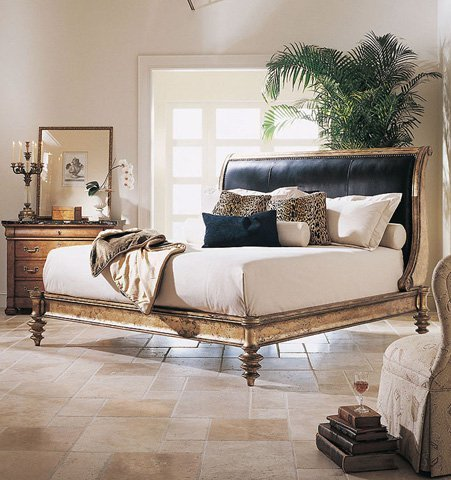 Century Gold Leaf King Size Napoleon Bed with leather