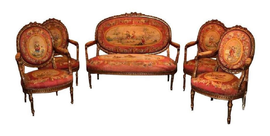 5 Piece 18th Century French Settee Collection