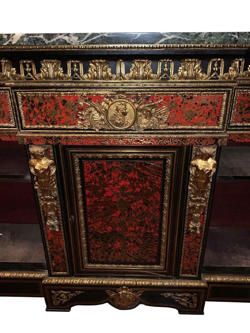Rare, Italian Boulle Sideboard with green marble top - 10