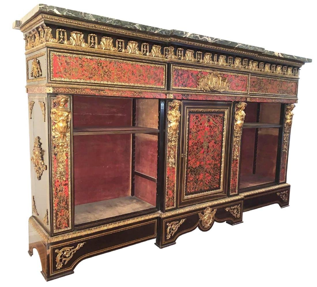 Rare, Italian Boulle Sideboard with green marble top
