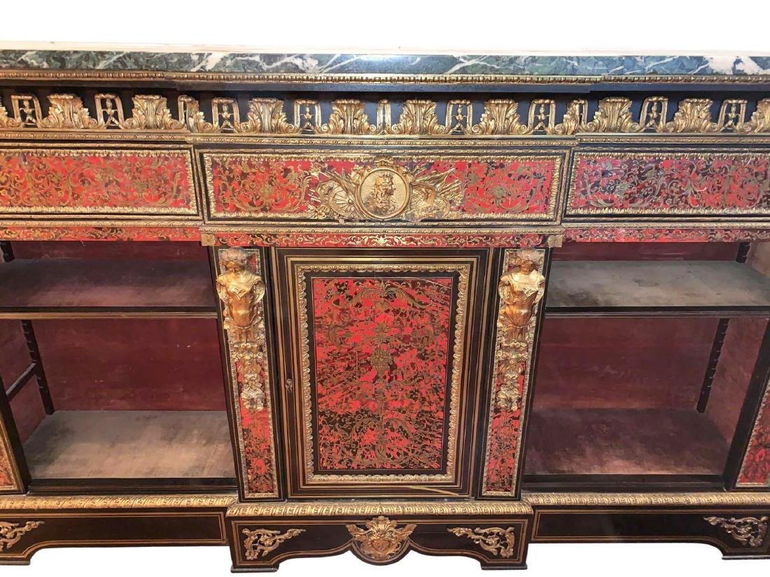Rare, Italian Boulle Sideboard with green marble top - 2