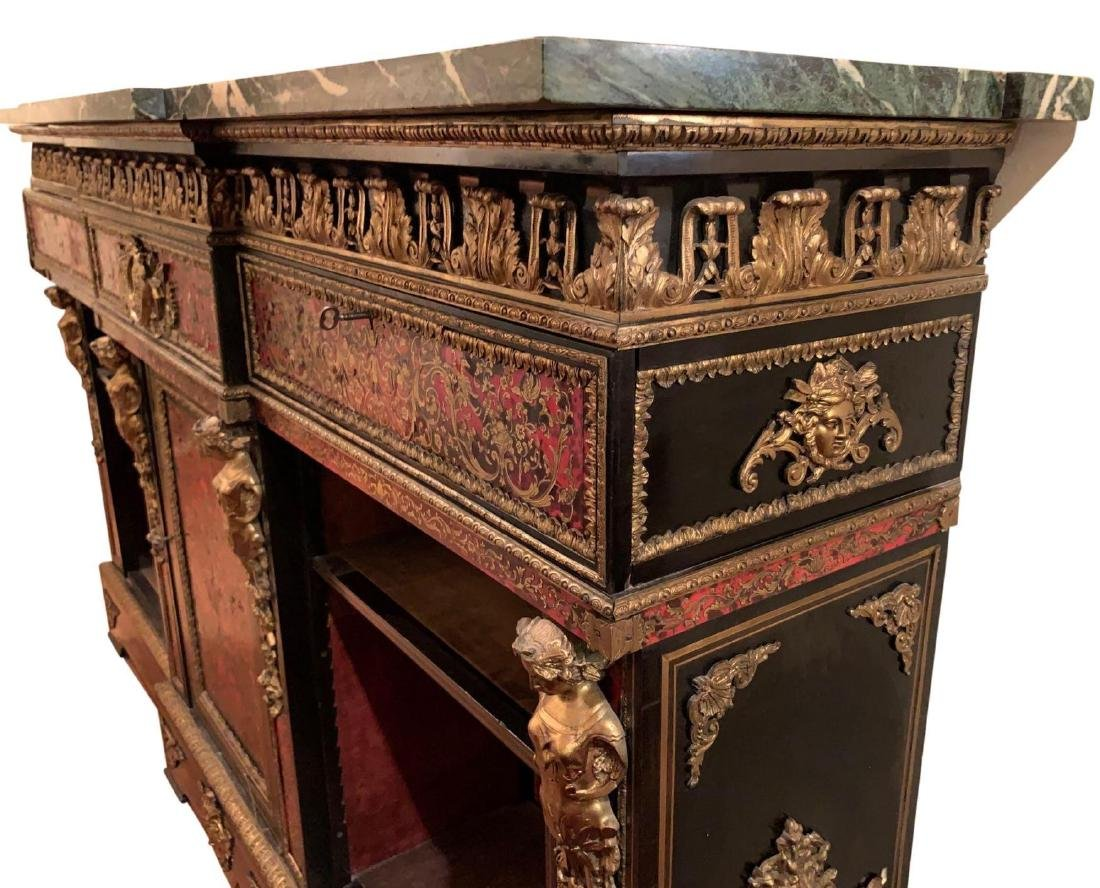 Rare, Italian Boulle Sideboard with green marble top - 3