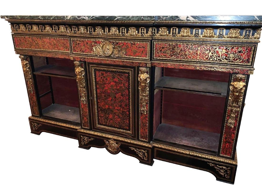 Rare, Italian Boulle Sideboard with green marble top - 5