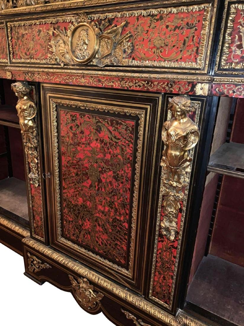 Rare, Italian Boulle Sideboard with green marble top - 7