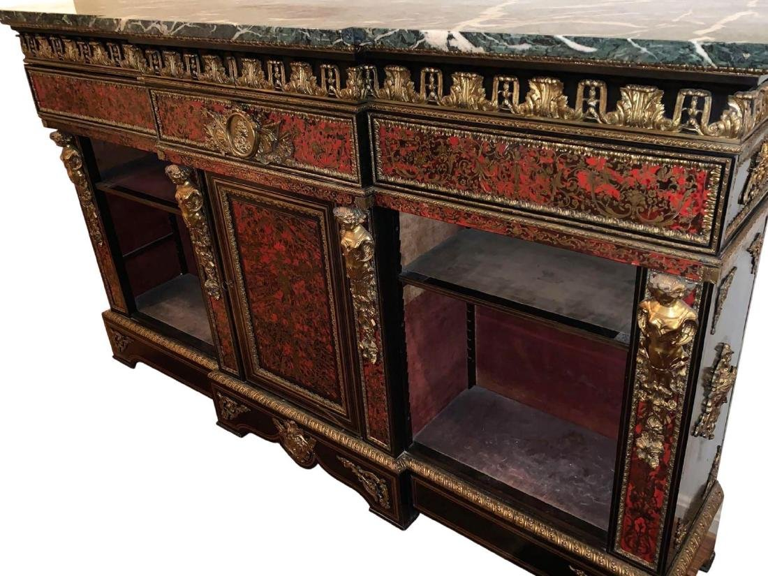 Rare, Italian Boulle Sideboard with green marble top - 8