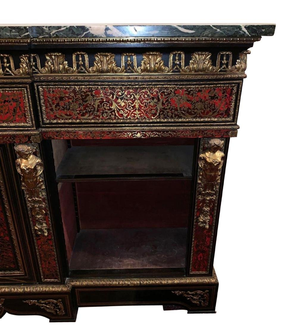 Rare, Italian Boulle Sideboard with green marble top - 9
