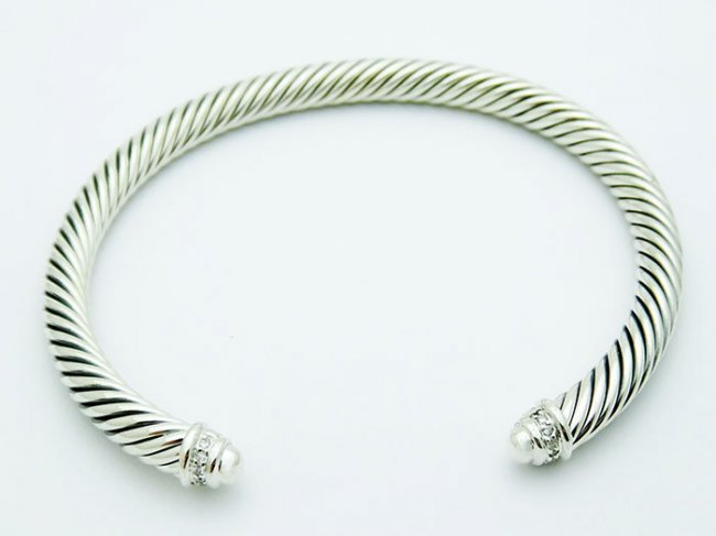 David Yurman 925 Silver Bracelet Pave Diamonds