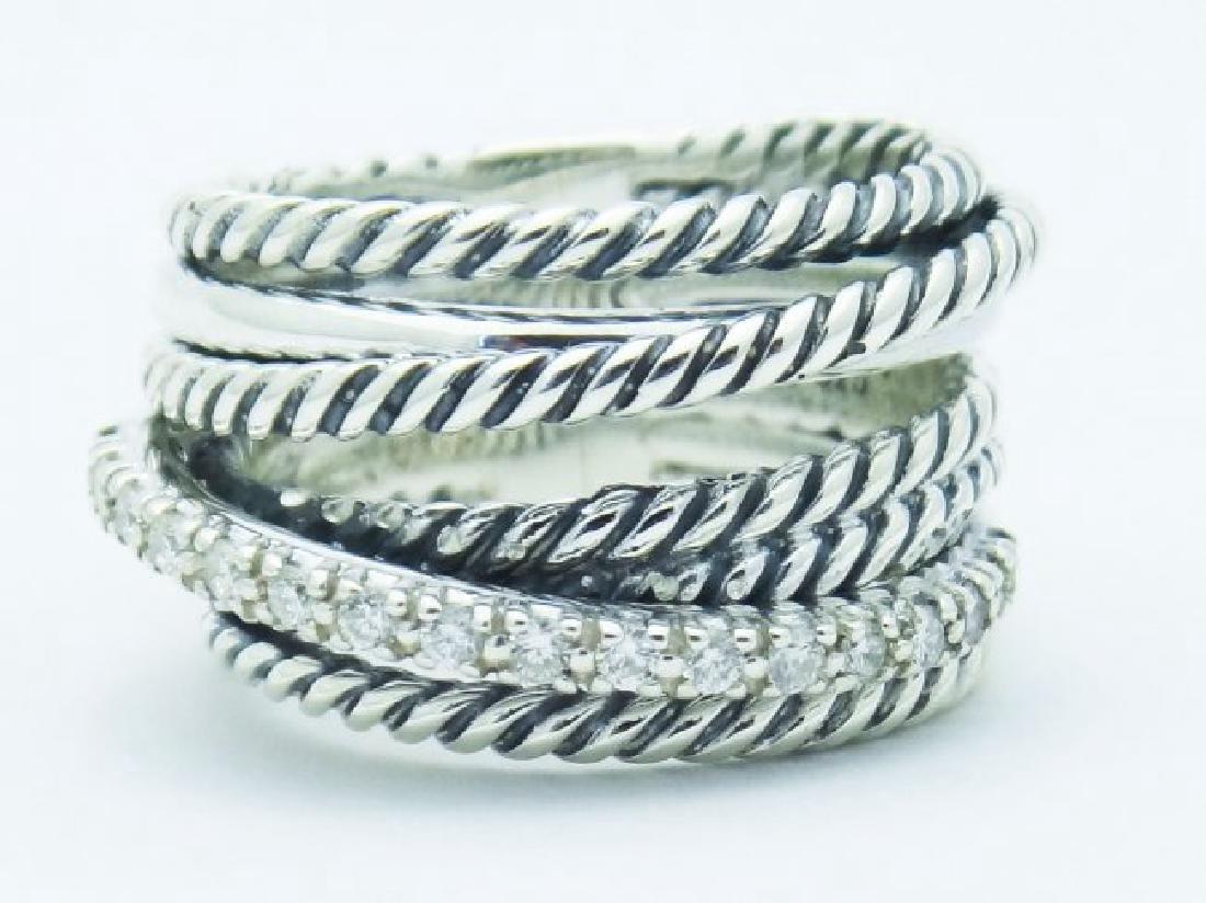 David Yurman 925 Sterling Wide Ring & Diamonds