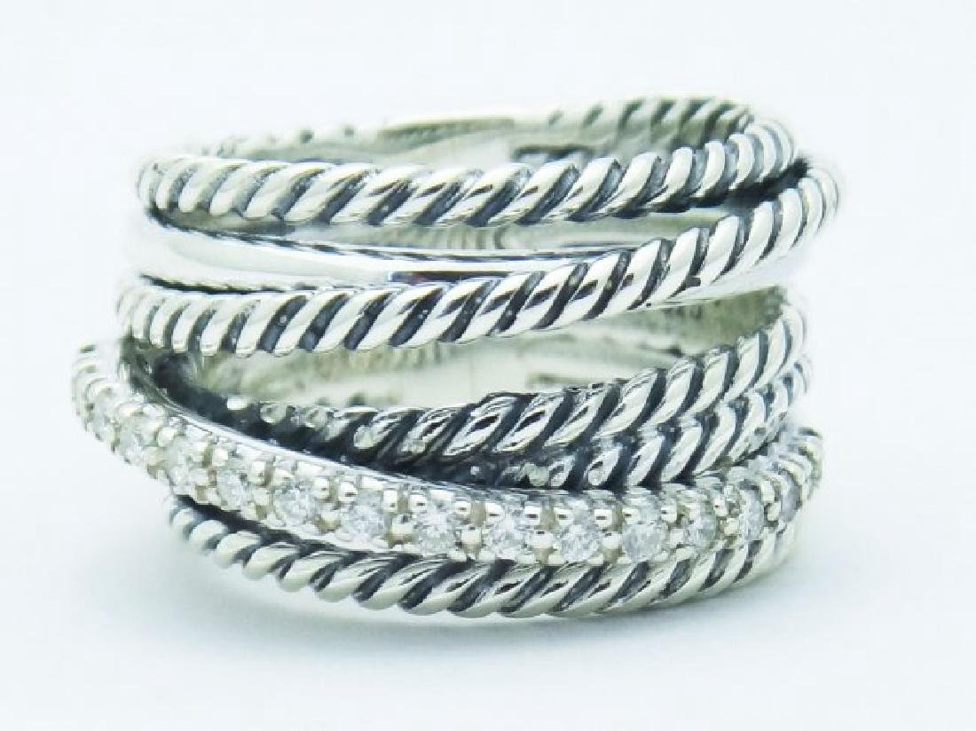 David Yurman 925 Sterling Wide Ring & Diamonds