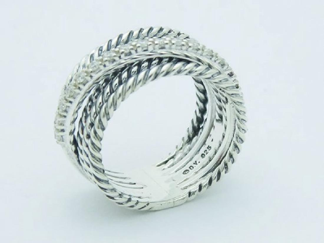 David Yurman 925 Sterling Wide Ring & Diamonds - 2