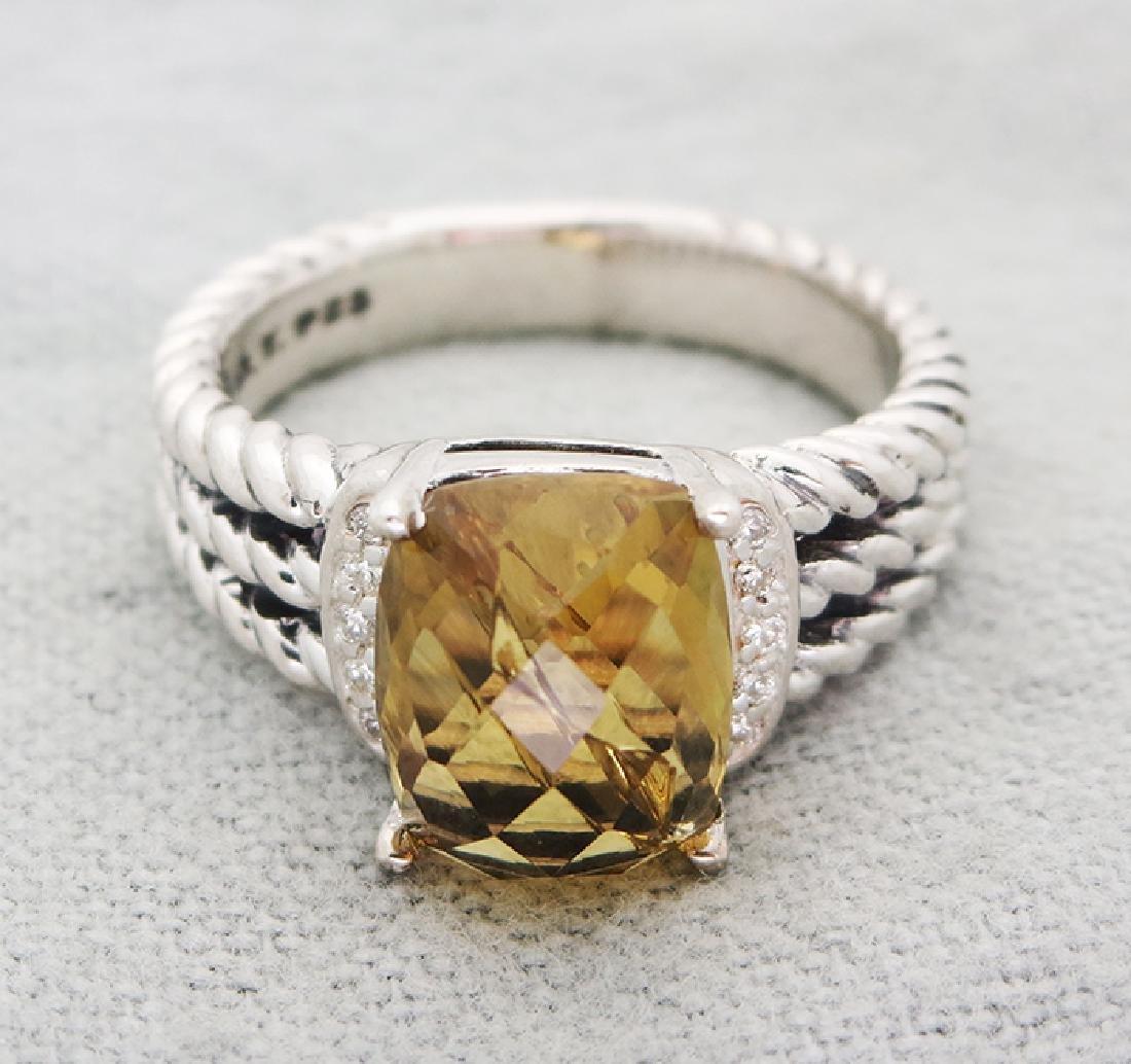 David Yurman Petite Wheaton Ring Citrine & Diamonds