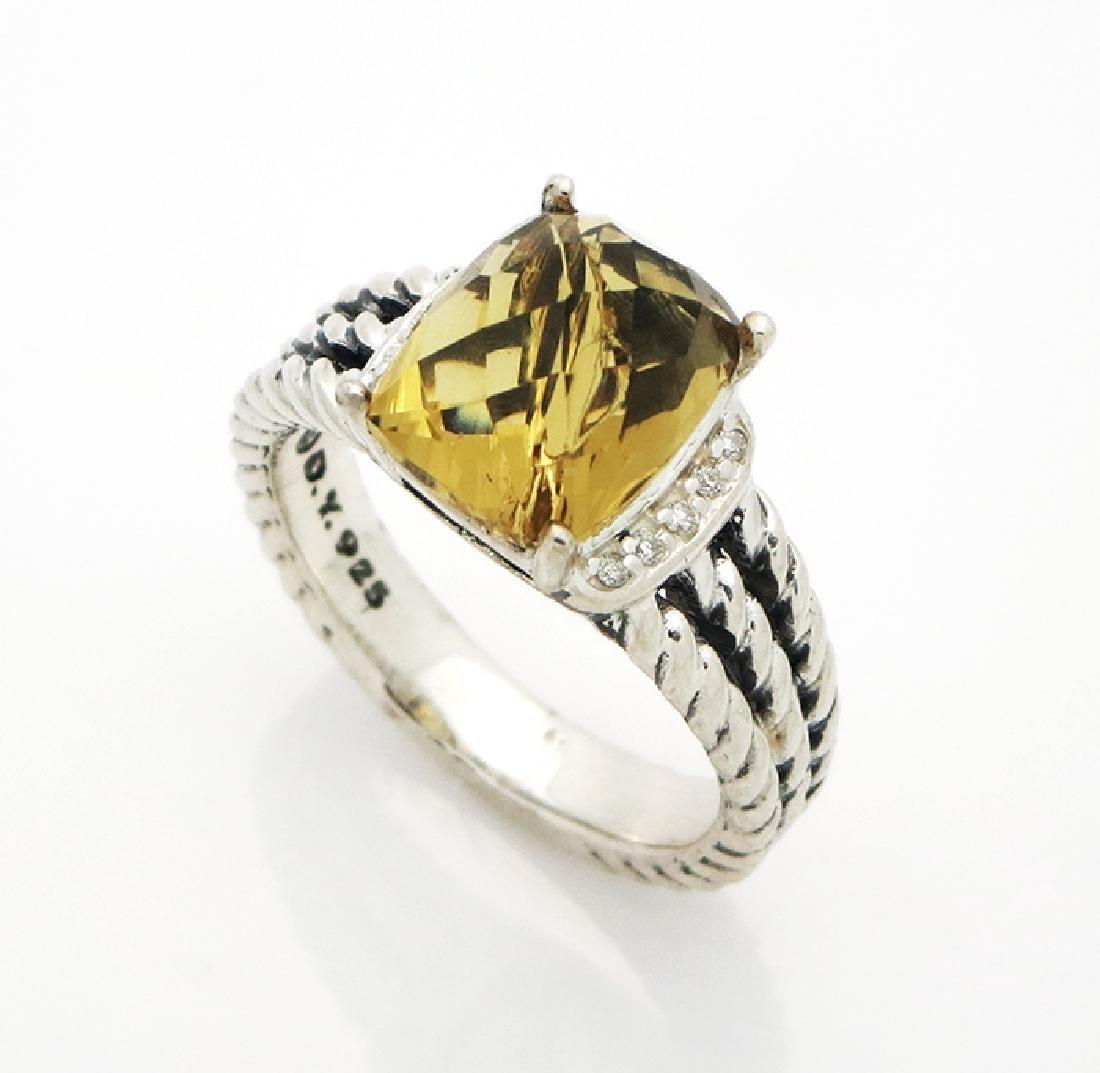 David Yurman Petite Wheaton Ring Citrine & Diamonds - 3