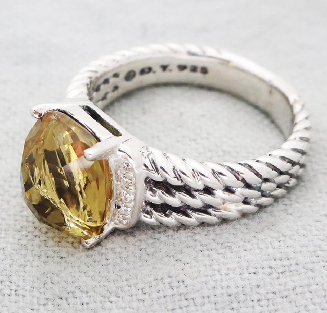 David Yurman Petite Wheaton Ring Citrine & Diamonds - 5