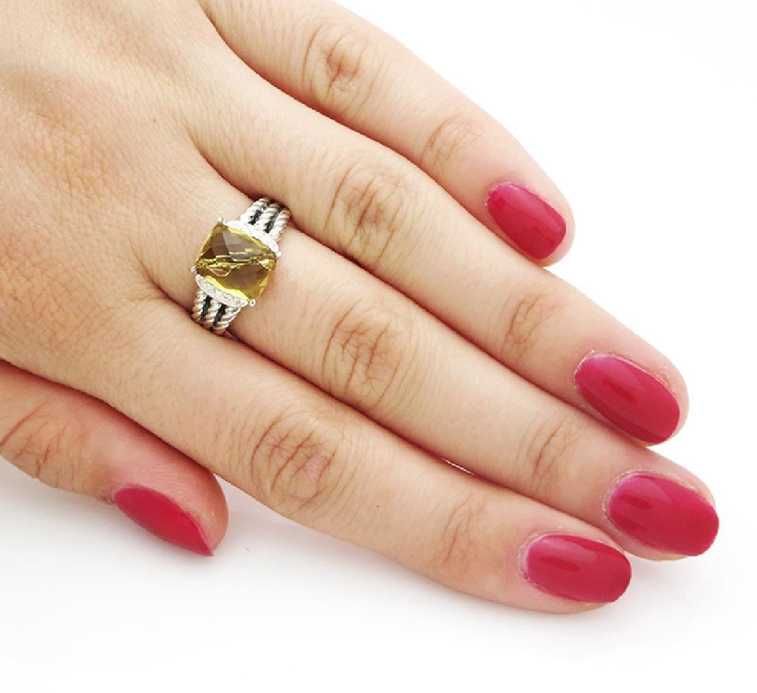 David Yurman Petite Wheaton Ring Citrine & Diamonds - 6