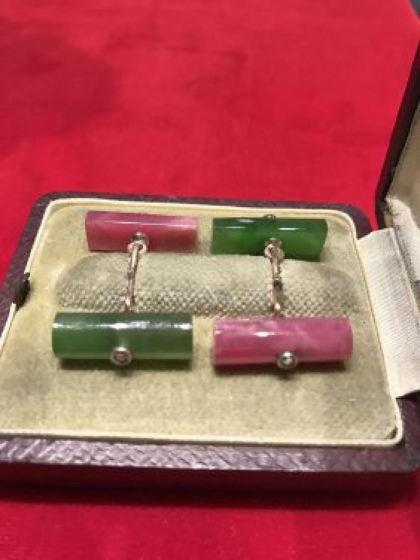 Russian 14k gold, Nephrite and rhodonite cufflinks - 2