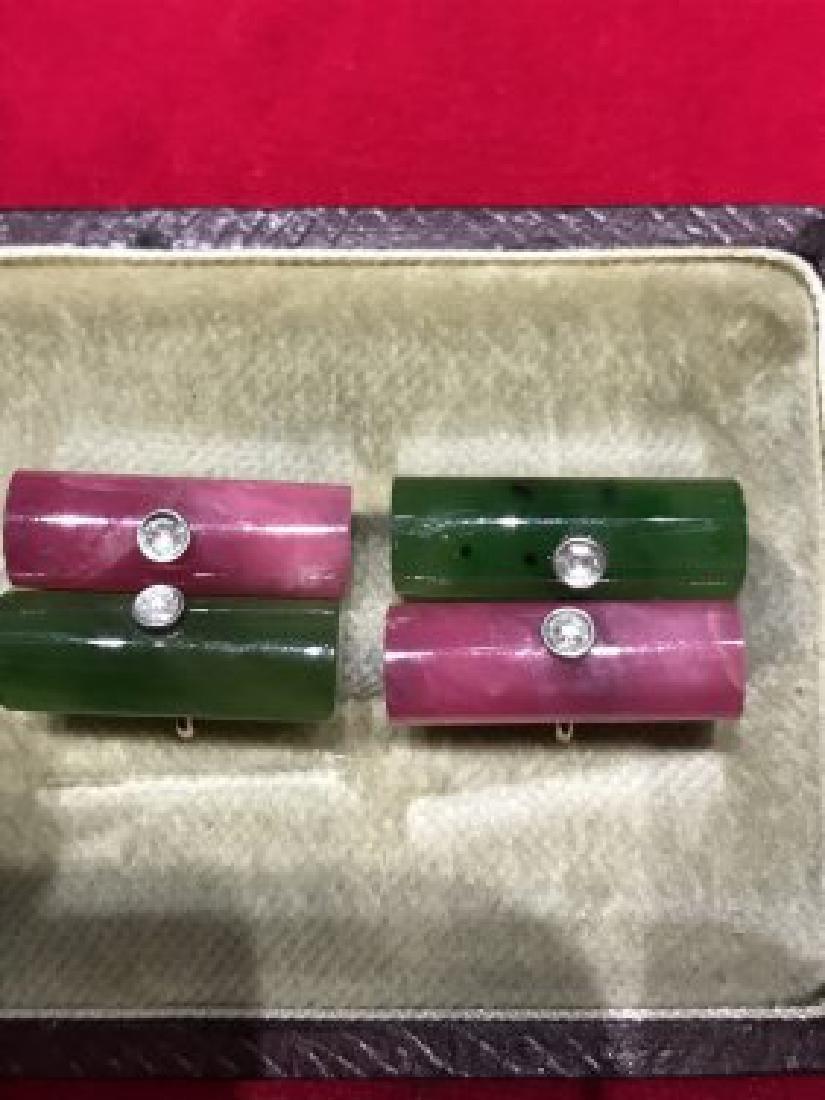 Russian 14k gold, Nephrite and rhodonite cufflinks - 4